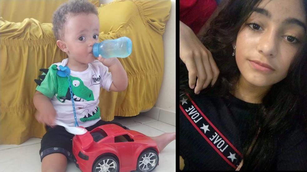 O bebê e único filho de Paloma Prates da Cunha, Heitor, de 1 ano e 6 meses, e a irmã caçula Paola, de 13 anos, que desapareceram no tsunami de lama de Brumadinhoos. — Foto: Arquivo Pessoas