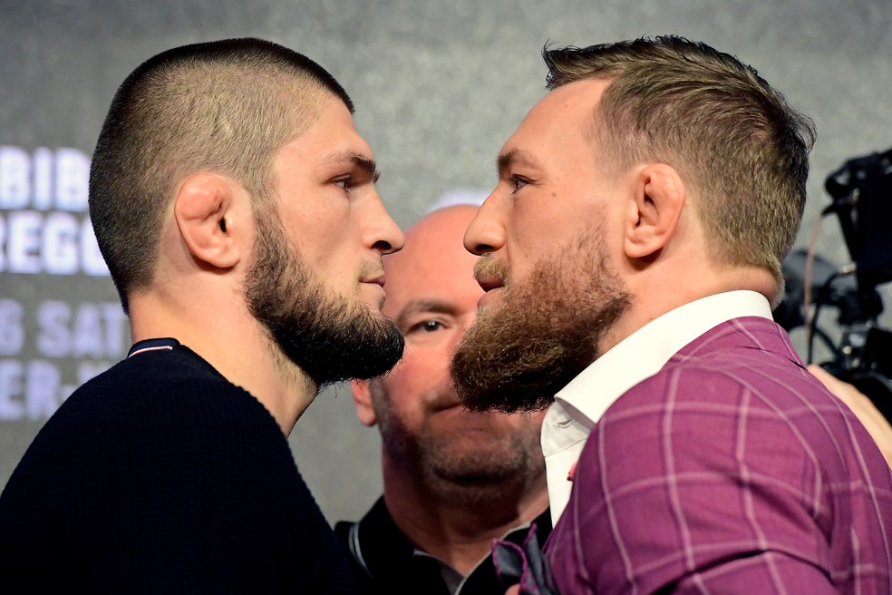 Conor McGregor e Khabib Nurmagomedov se enfrentaram no UFC 229, em 2018 — Foto: Getty Images