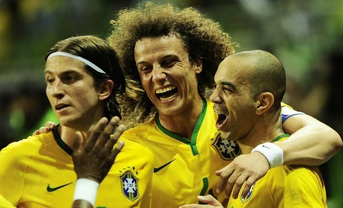 Jogadores comemoram, Brasil x México (Foto: Marcos Ribolli)