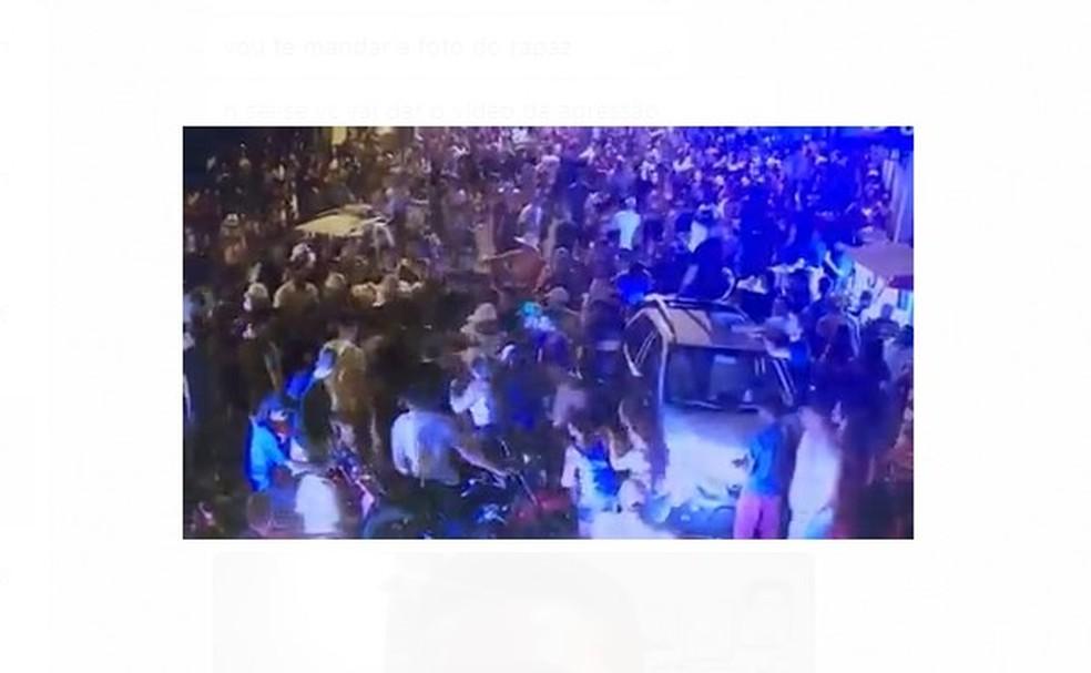 Imagens de câmeras de segurança registraram o espancamento de Francisco Douglas — Foto: Reprodução