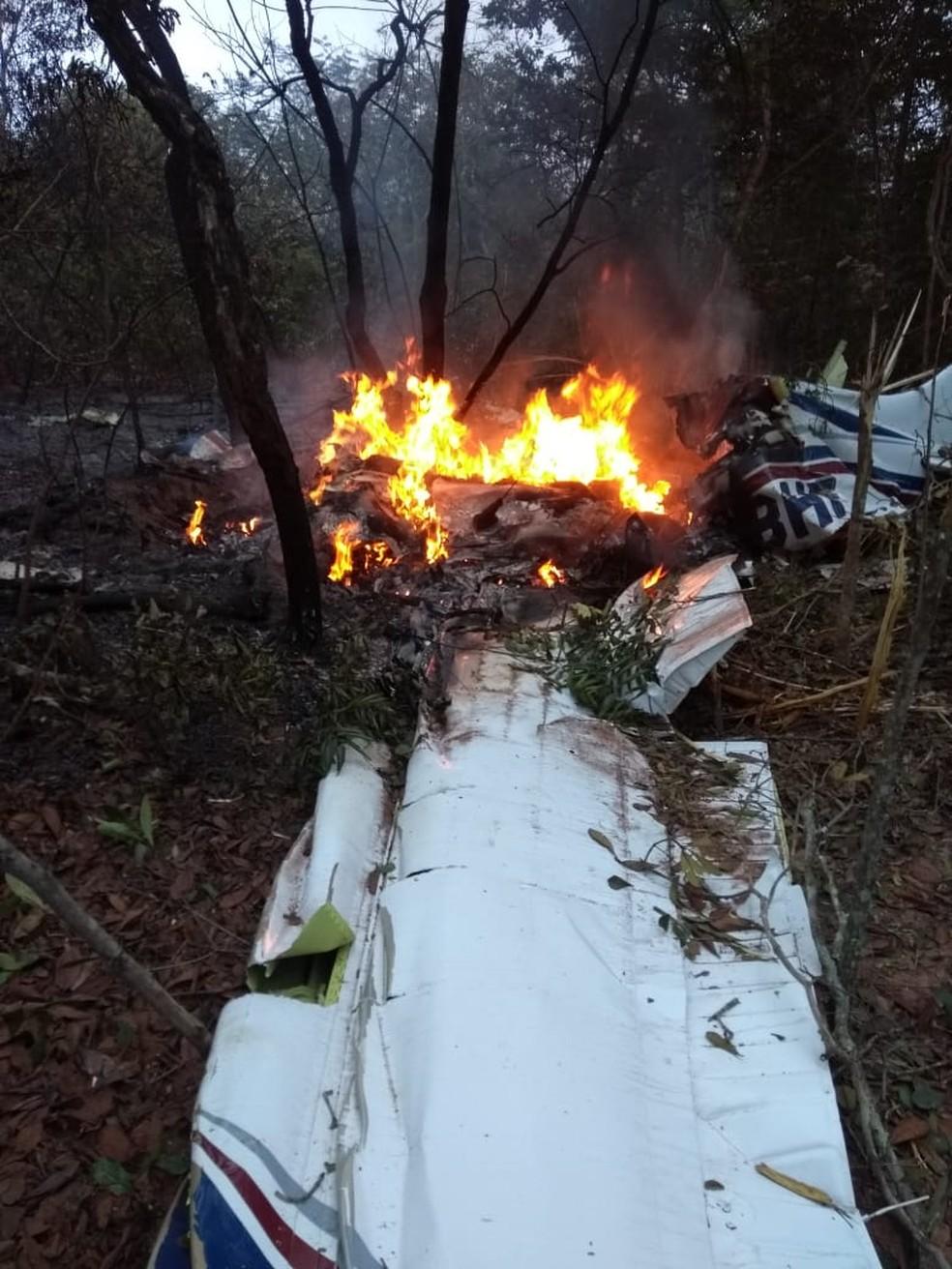 Avião que caiu em mata fechada, em Campo Grande — Foto: Redes sociais