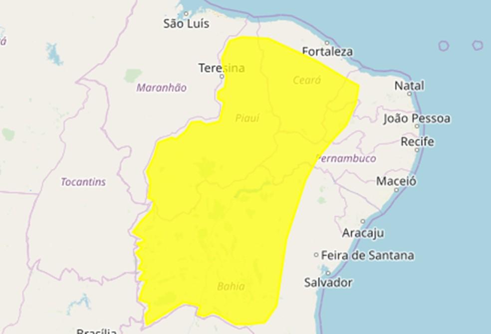 Inmet emite alerta de chuvas intensas para quase 60 cidades do Sertão da Paraíba — Foto: Inmet/Divulgação
