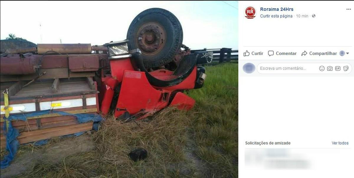 Motorista é arremessado e morre após caminhão capotar em Mucajaí, Sul de RR