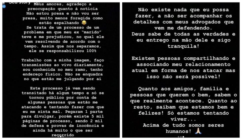 Blogueira, moradora de Sorocaba (SP), publicou nota nas redes sociais — Foto: Reprodução/Instagram