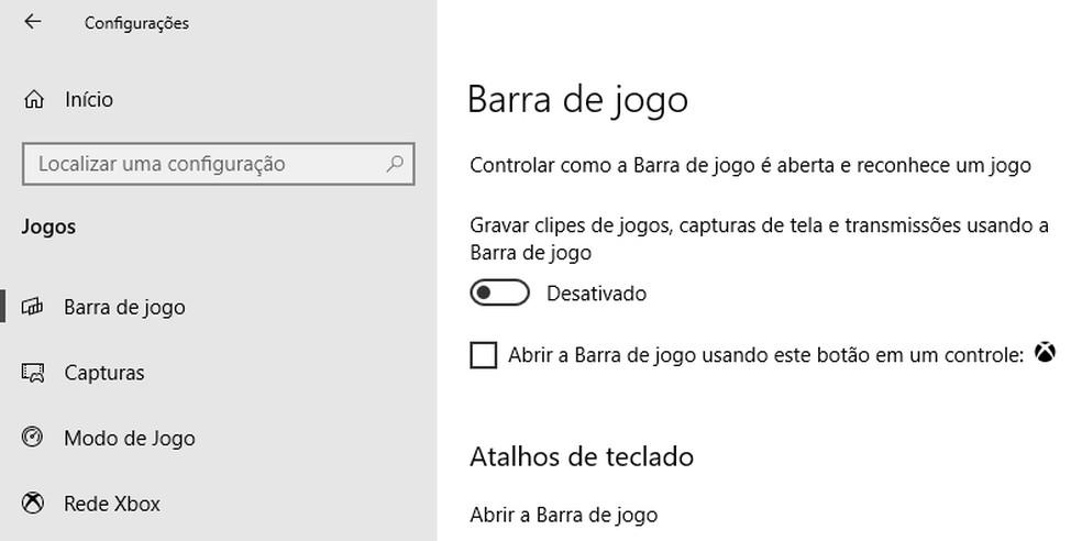 Desative a Barra de jogo do Windows — Foto: Reprodução