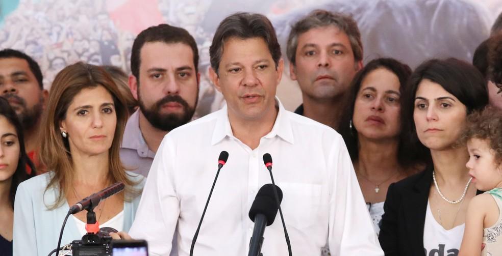 Fernando Haddad em pronunciamento após o anúncio do resultado do segundo turno da eleição — Foto: Celso Tavares/G1