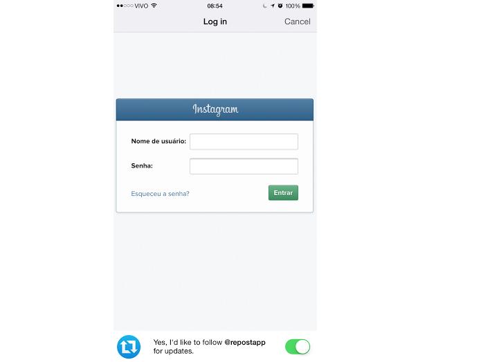 Faça o login com os dados do Instagram (Foto: Reprodução/Thiago Barros)
