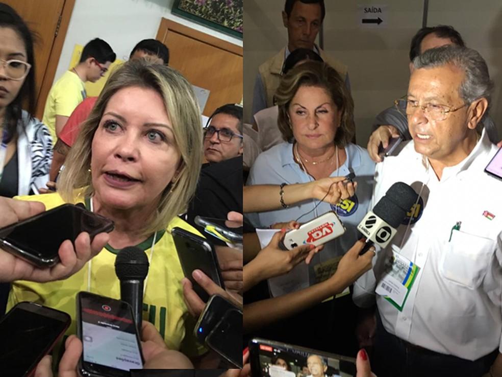 Selma Arruda (PSL) e Jayme Campos (DEM) foram eleitos senadores por Mato Grosso — Foto: Montagem/G1