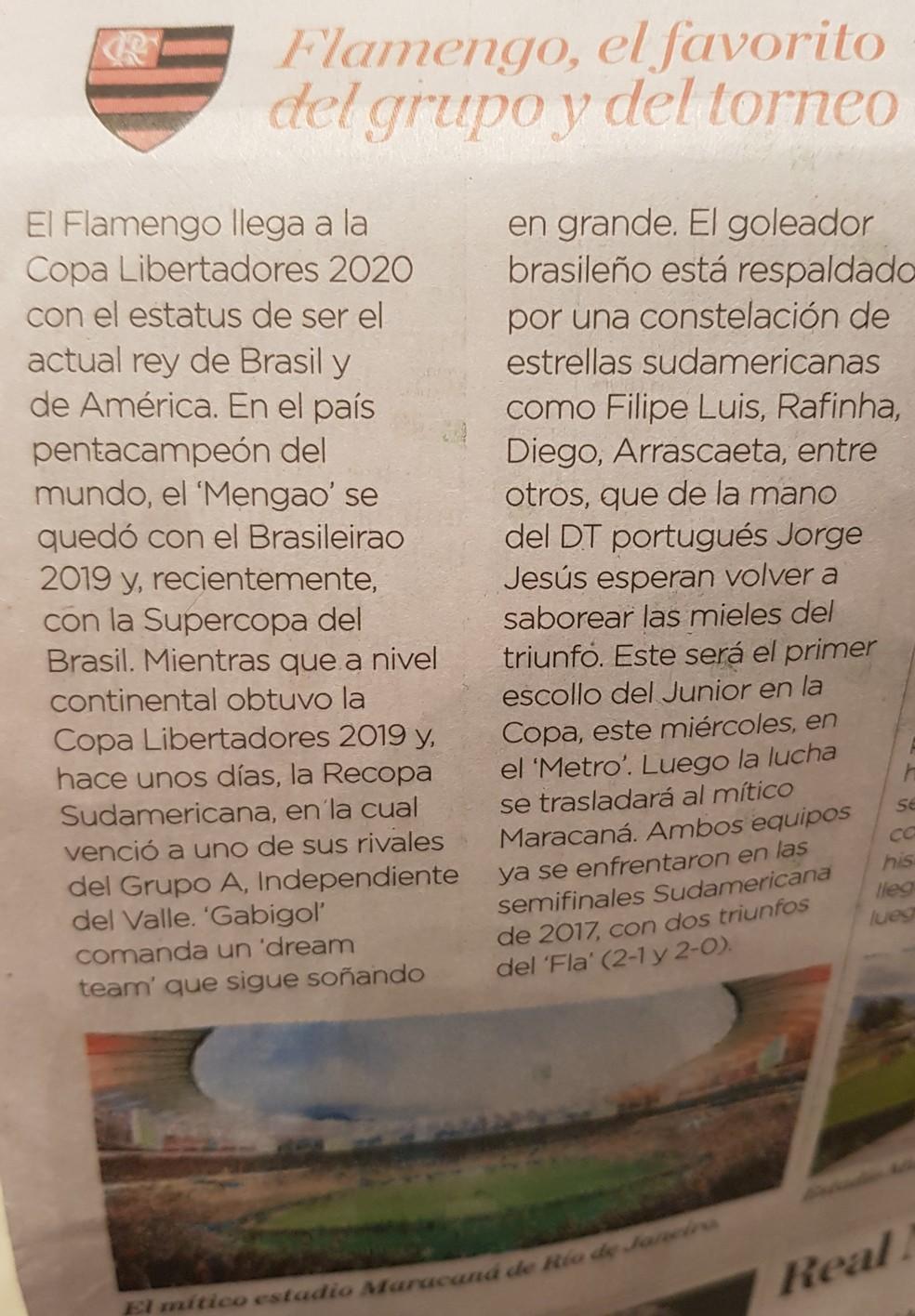 """Jornal """"El Heraldo"""" sobre o Flamengo — Foto: Reprodução"""