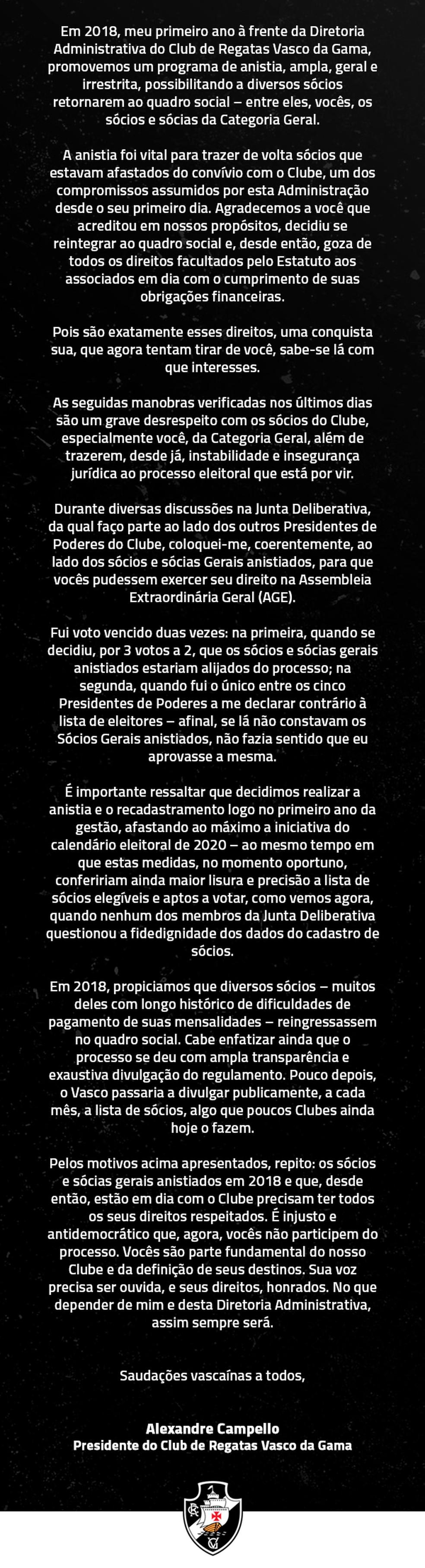 Carta de Campello aos associados do Vasco da categoria Geral — Foto: Reprodução