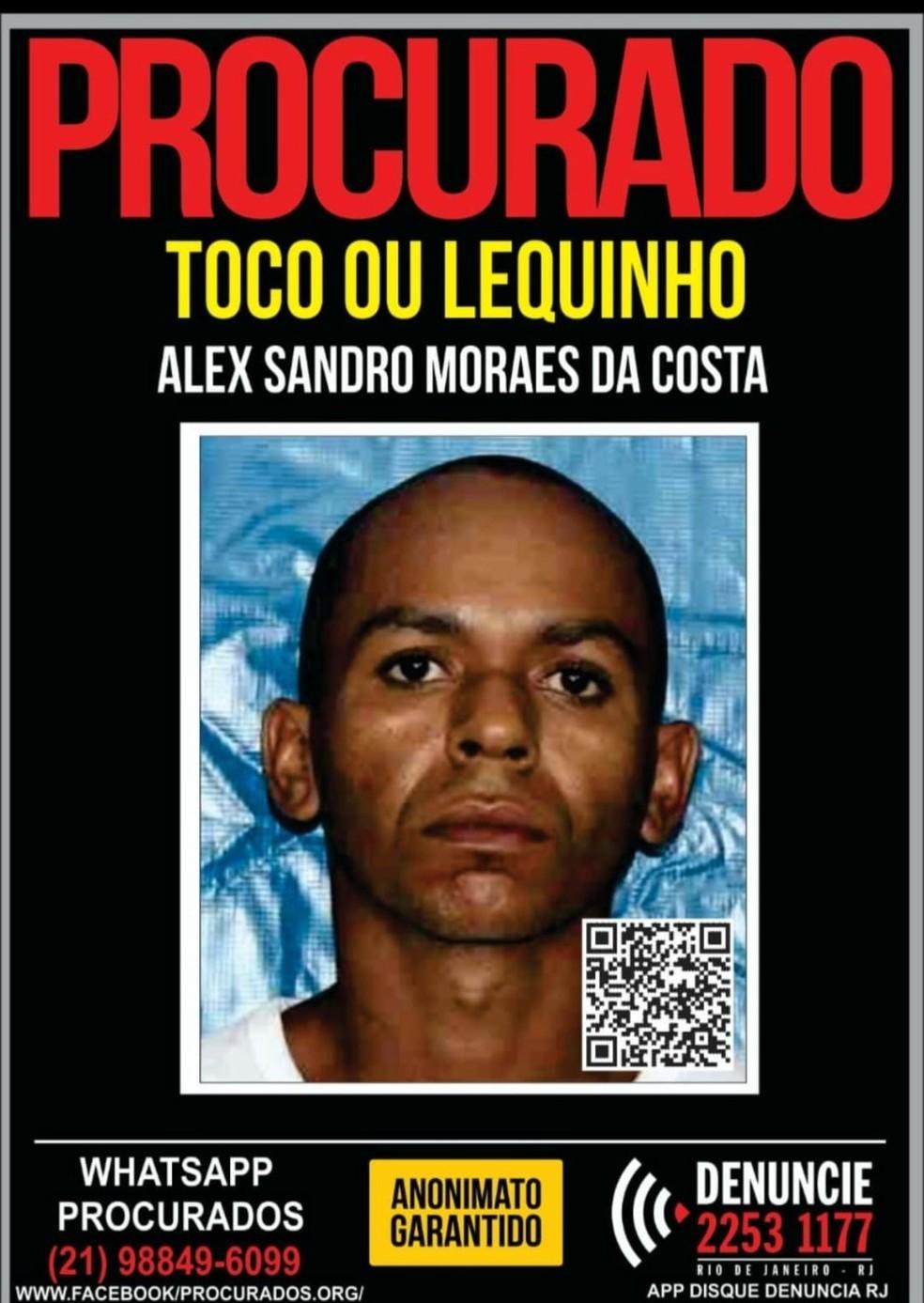 Alex Sandro Moraes da Costa entra na lista de procurados da Polícia Civil do Rio de Janeiro. — Foto: Reprodução/Polícia Civil do RJ