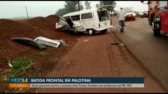Acidente entre kombi e carro deixa um morto e oito feridos em Palotina