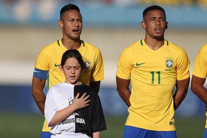 Neymar e Gabriel Jesus pela seleção olímpica (Foto: Lucas Figueiredo / MoWA Press)