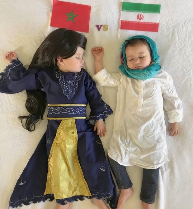 Marrocos vs Irã: túnica e cabeça coberta, como as iranianas (Foto: Reprodução)