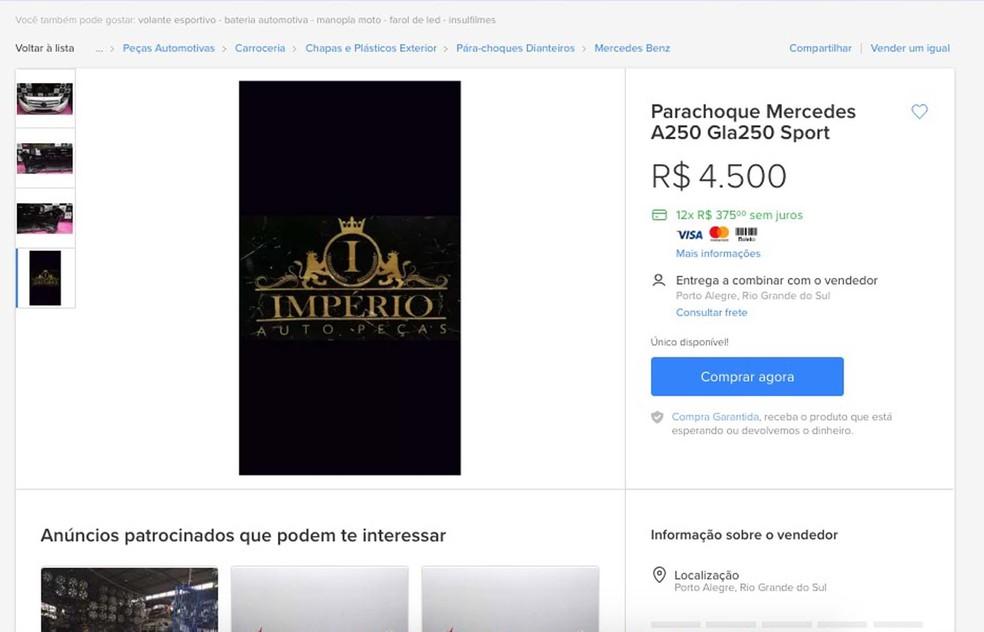 Anúncio por meio do qual peças eram vendidas pela Internet (Foto: Reprodução/RBS TV)