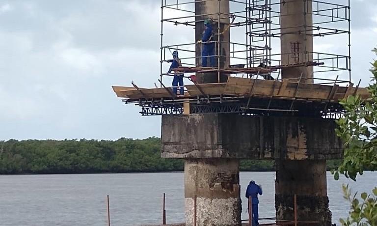 Obras de recuperação da Ponte do Gunga, AL, são iniciadas - Notícias - Plantão Diário
