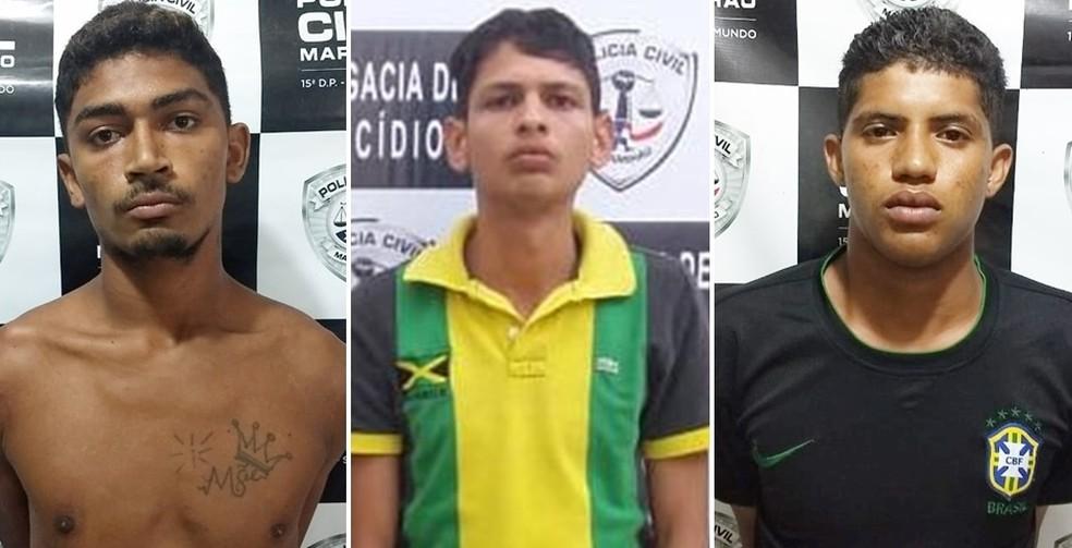 Nathanael Felipe da Silva e Silva, Luiz Henrique Lima Fernandes e Wenderson Escocio Feitosa foram levados ao Complexo Penitenciário de Pedrinhas em São Luís — Foto: Divulgação/Polícia
