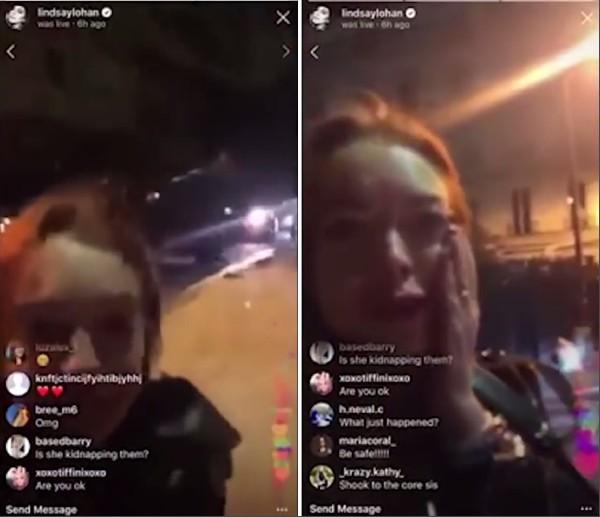 A atriz Lindsay Lohan em meio a lágrimas, assustada com a agressão da qual foi vítima (Foto: Instagram)