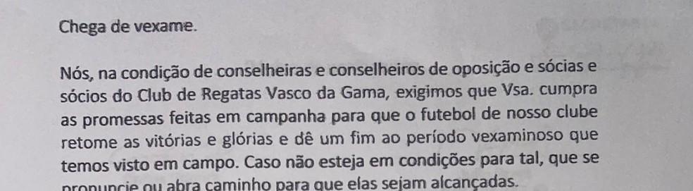 Carta Vasco 3 — Foto: Reprodução