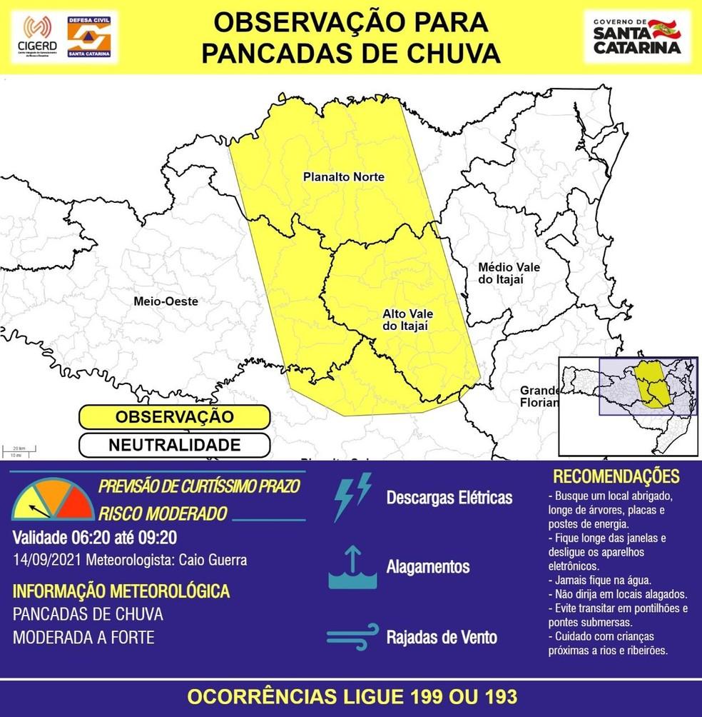 Defesa Civil emite comunicado nesta terça-feira (14) — Foto: Defesa Civil de Santa Catarina/Divulgação