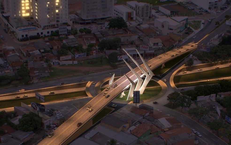 Projeto de viaduto na Jamel Cecílio passando por cima do futuro prolongamento da Marginal Botafogo  — Foto: Reprodução/Câmara de Goiânia