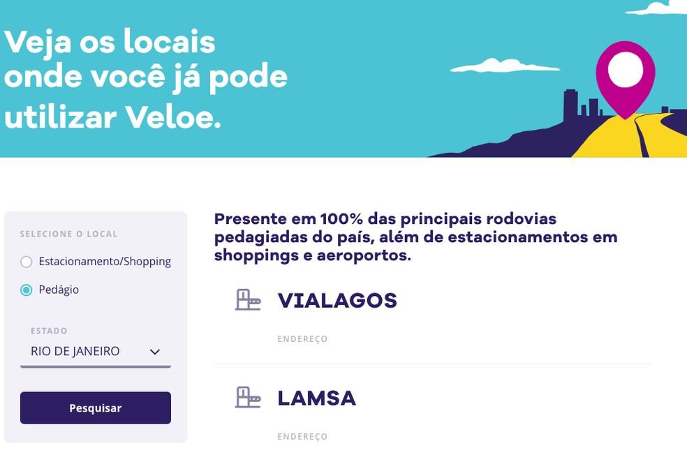 Site disponibiliza plataforma para saber onde a Veloe pode ser utilizada — Foto: Reprodução/TechTudo