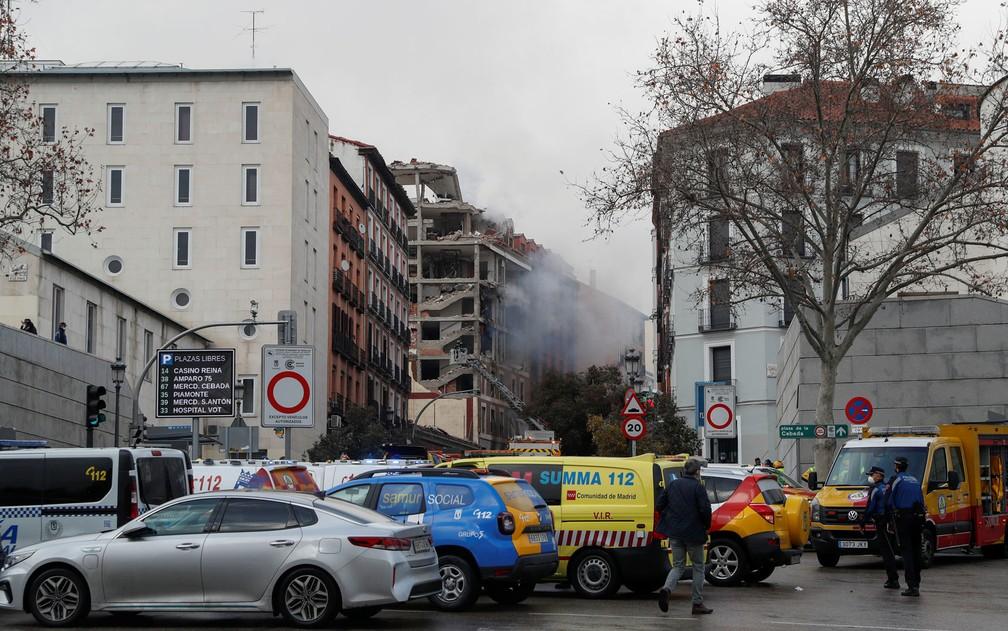 Explosão em prédio de Madri — Foto: Susana Vera/Reuters