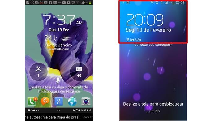 A tela de bloquei do Android 4.3 agora possui um espaço com a data e o calendário separado e insensível a toques de desbloqueio (Foto: Reprodução/ Daniel Ribeiro)