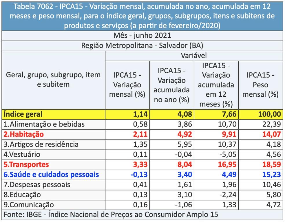 Variação das inflação em grupos de produtos e serviços — Foto: IBGE/Divulgação