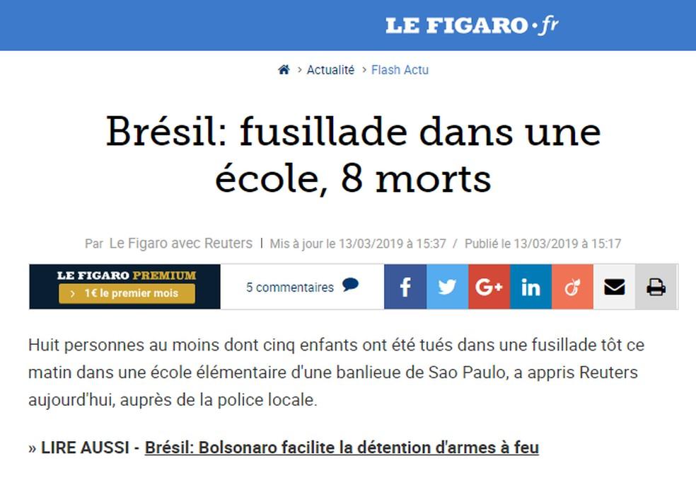 Diário francês 'Le Figaro' disse que Brasil tem muita violência com armas de fogo — Foto: Reprodução/Le Figaro