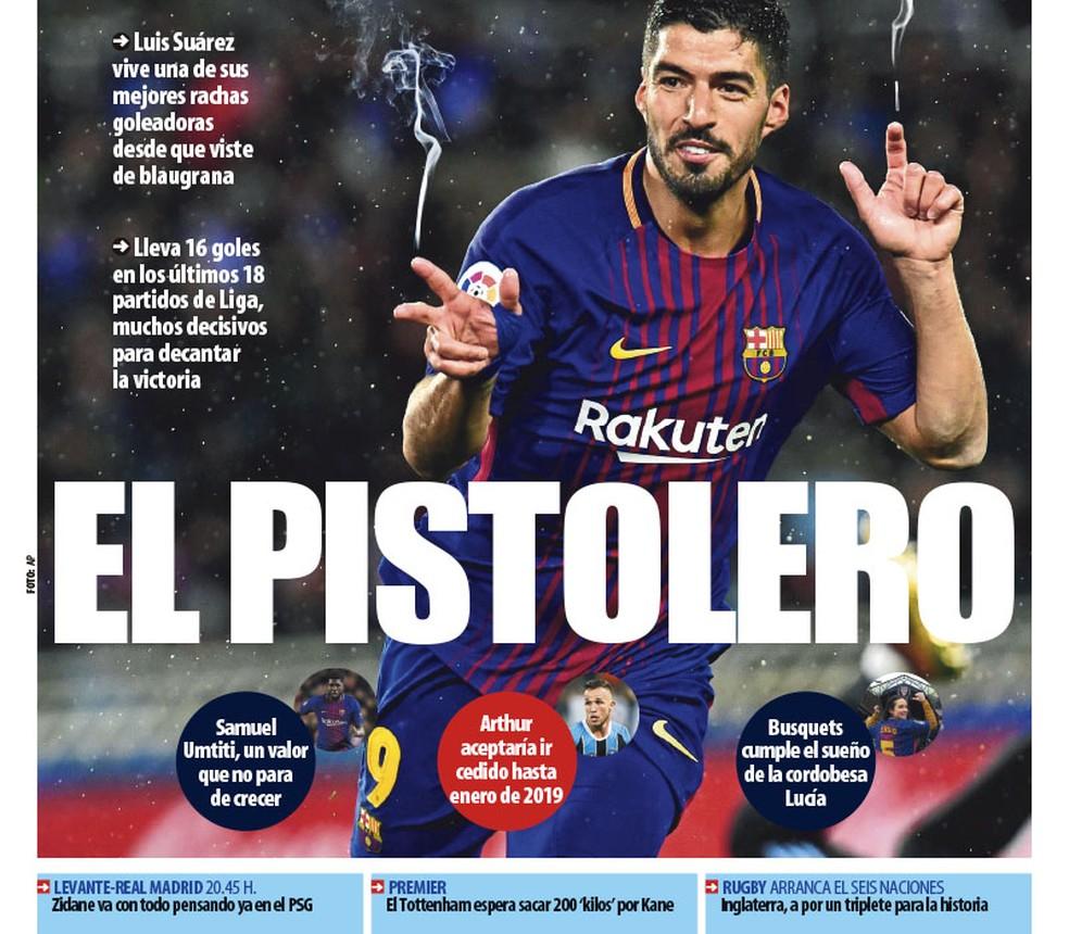 Arthur tem destaque no Mundo Deportivo em capa com Luis Suárez (Foto: reprodução)