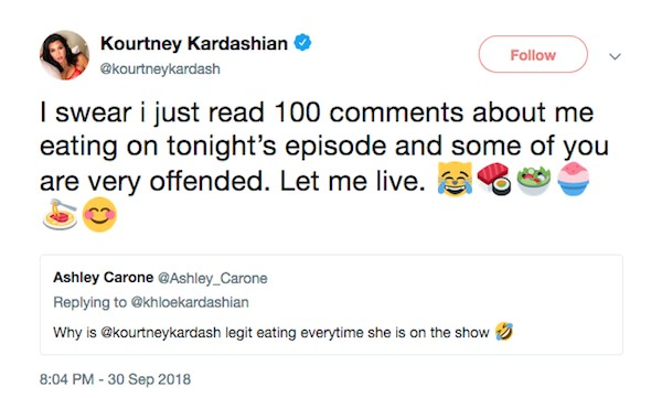 A socialite Kourtney Kardashian irritada com os comentários sobre sua presença em um episódio do reality show protagonizado por sua família (Foto: Twitter)