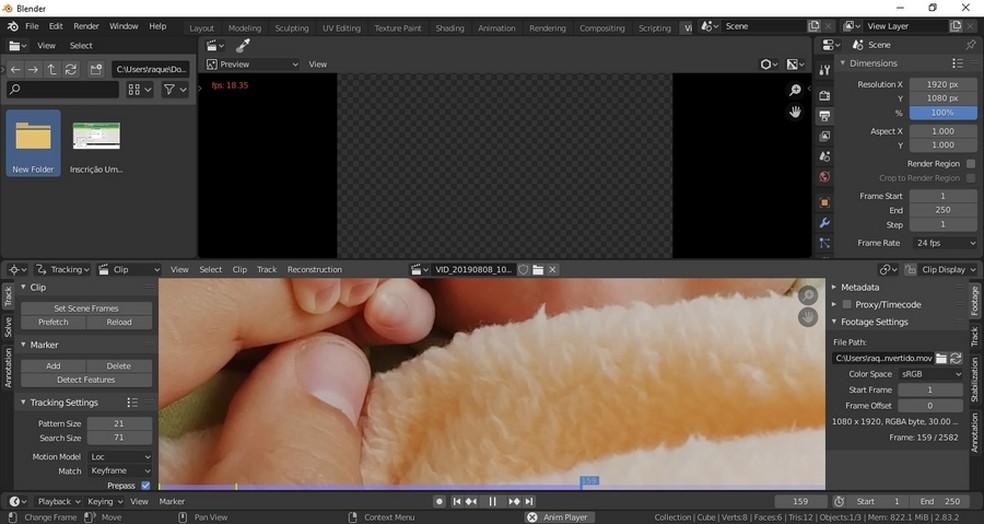 Blender é voltado para criação 3D e tem editor de vídeo integrado — Foto: Reprodução/Raquel Freire
