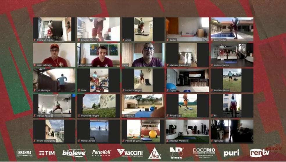 Jogadores têm treinado na quarentena sob supervisão da comissão técnica por videoconferência — Foto: Reprodução