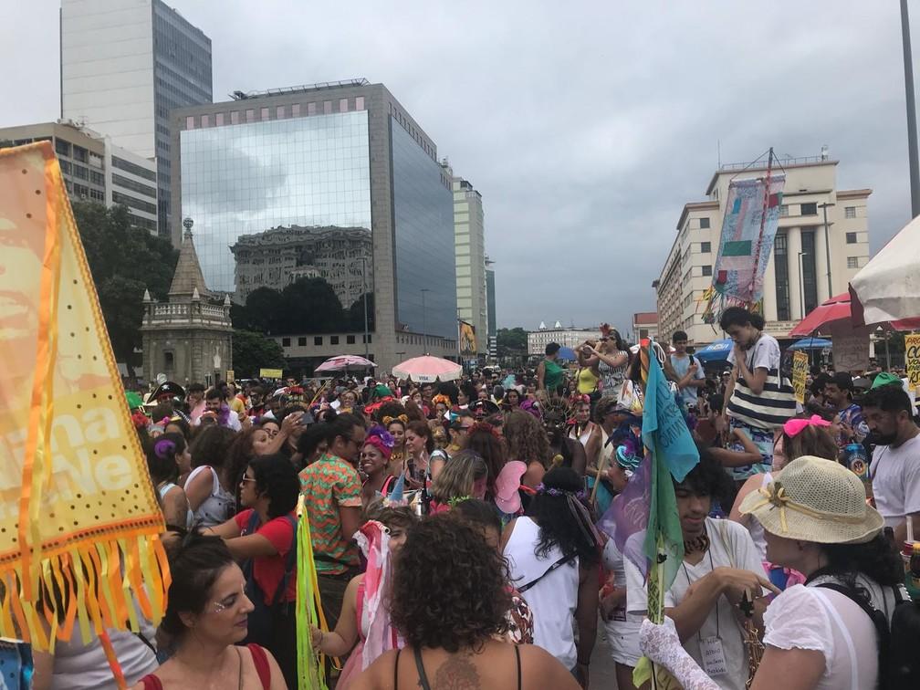 Praça 15 cheia a mais de um mês para a folia; blocos se juntaram para a abertura não oficial do carnaval de rua do Rio (Foto: Fábio Fabato/Arquivo pessoal)