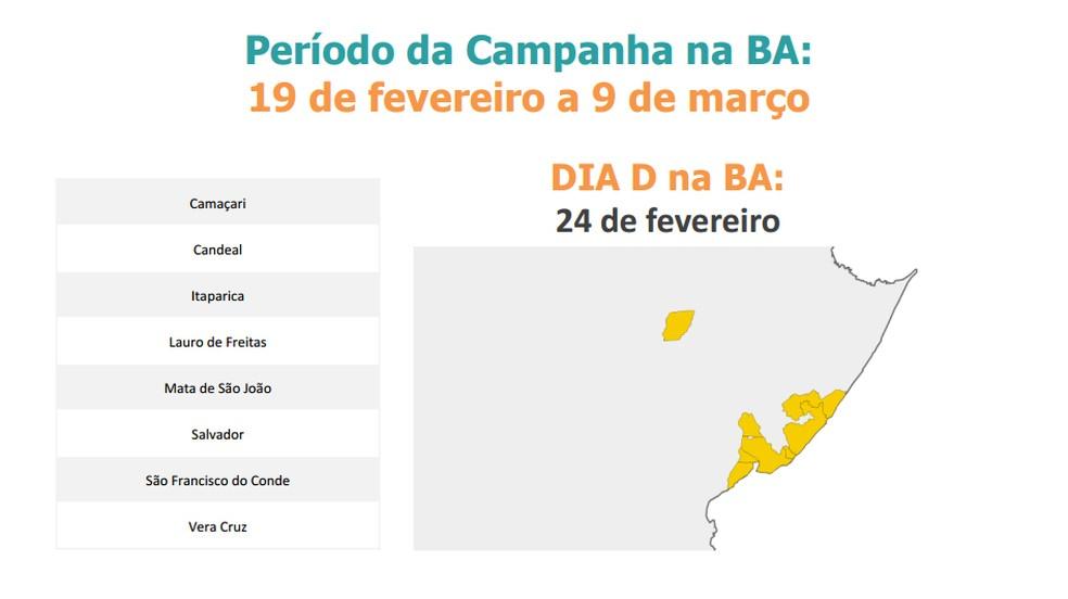 Mapa mostra os municípios da BA onde haverá vacina fracionada da febre amarela (Foto: Divulgação/Ministério da Saúde)