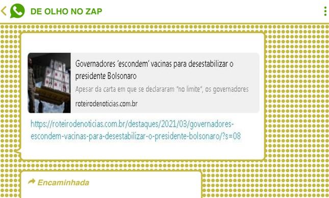 Notícia falsa acusa governadores de represarem vacinas contra Covid-19 contra o governo federal