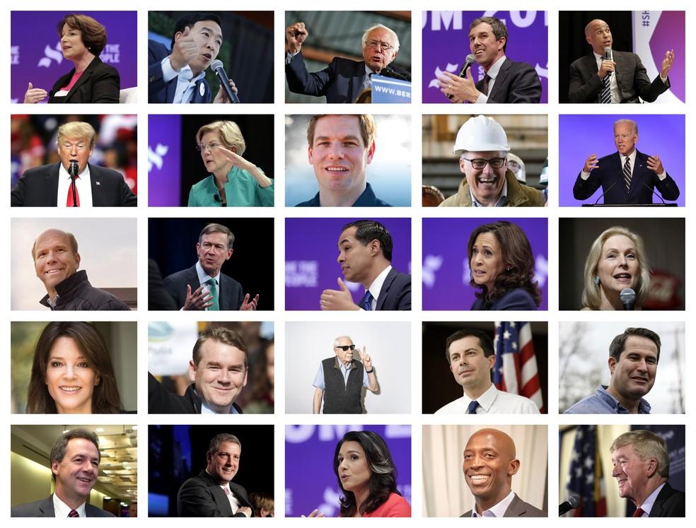 Os pré-candidatos à presidência americana até terça-feira (14). — Foto: Fotos: AP, Reuters e Twitter. Montagem: G1