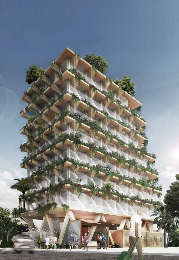 Projeto do escritório Tryptique para edifício de madeira de 13 andares na Vila Madalena, em São Paulo (Foto: Divulgação)