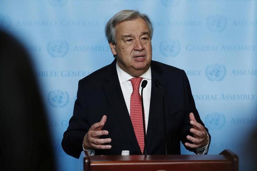 O secretário-geral da Organização das Nações Unidas (ONU), António Guterres (Foto: Lucas Jackson/Reuters)