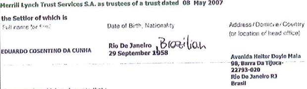 Documento de banco suíço com endereço de Eduardo Cunha no Rio de Janeiro (Foto: Reprodução)
