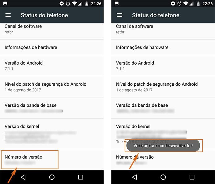 Ative o modo desenvolvedor no Android