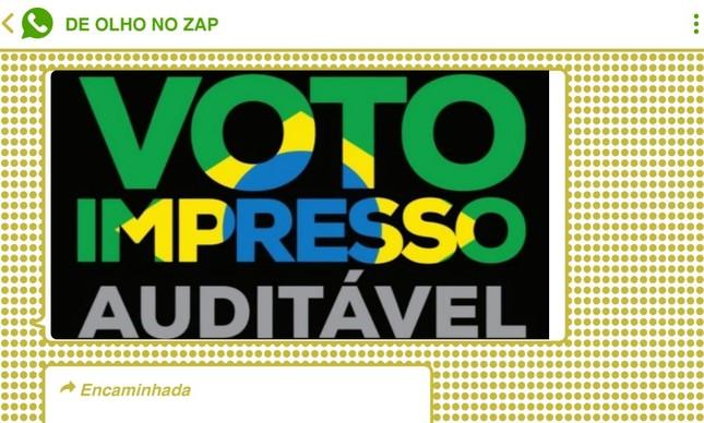 Reprodução de postagem que circula em grupos bolsonaristas impulsionam o voto impresso auditável