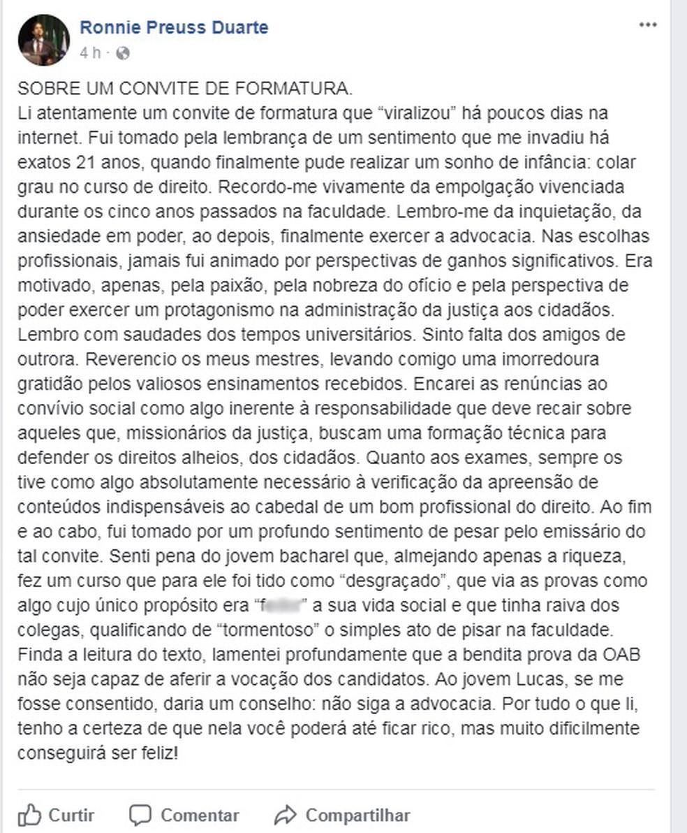 Em uma rede social, presidente da OAB-PE criticou texto de convite à formatura de bacharel em direito que 'viralizou' nas redes sociais (Foto: Reprodução/Facebook)
