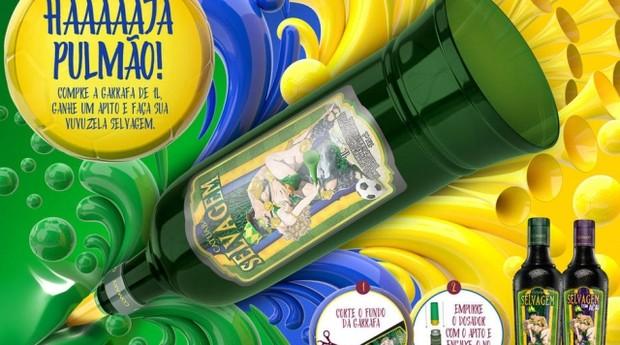 A Catuaba Selvagem anunciou versão especial para a Copa do Mundo em que a garrafa se torna uma vuvuzela (Foto: Divulgação)