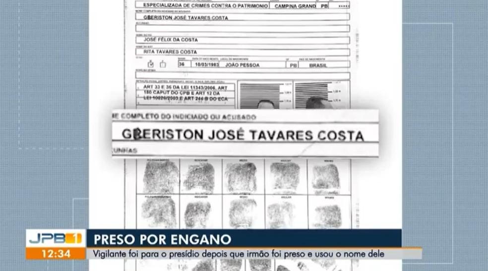 Ficha preenchida por João Paulo na delegacia, em Campina Grande, usando o nome do irmão — Foto: Reprodução/TV Paraíba
