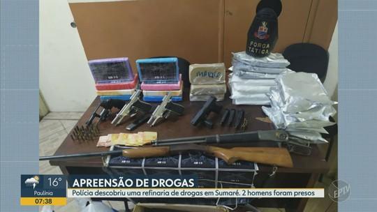 Polícia Militar encontra refinaria de drogas, apreende armas e prende dois em Sumaré