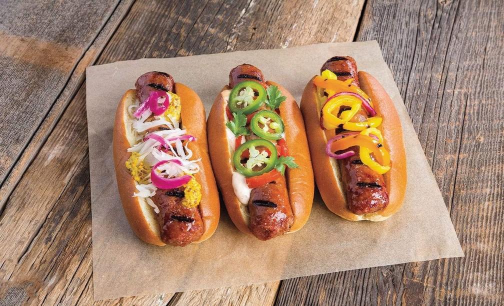 Salsicha vegetal da empresa americana Beyond Meat — Foto: The Good Food Institute