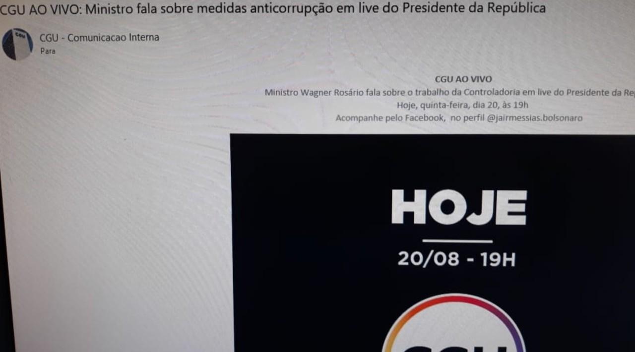 E-mail enviado pela CGU a servidores sobre live de Bolsonaro