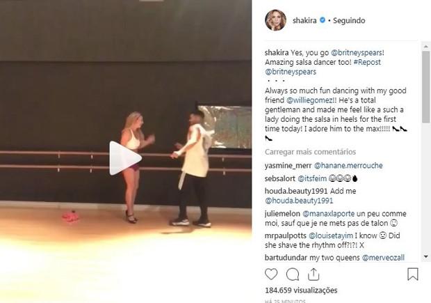 Shakira vibra com aulas de salsa de Britney Spears (Foto: Reprodução / Instagram)
